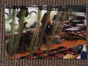 Fibres with people sitting on mats